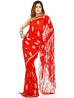 Rich Bridal Red Sari with Sequins and Beads