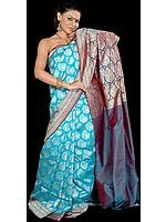 Robin-Egg Blue Jamdani Sari with All-Over Hand-Woven Flowers in Golden Thread
