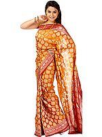 Golden-Oak Jamdani Sari from Banaras with Hand-Woven Bootis and Brocaded Border and Pallu