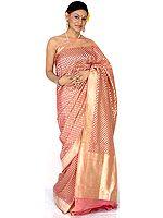 Salmon Banarasi Wedding Sari with All-Over Golden Bootis