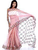 Salmon-Pink Chanderi Sari with Multi-Color Bootis