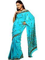 Atoll-Blue Kashmiri Crepe Silk Sari with Sozni Embroidery