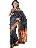Black Paithani Handloom Sari with Zari Thread Woven Peacocks on Anchal