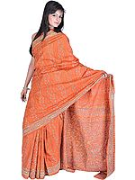 Jaffa-Orange Sari from Bengal with Kantha Stitched Embroidered Flowers All-Over
