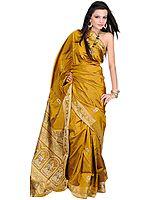 Mustard-Golden Baluchari Sari from Bengal Depicting an Episode from the Gita Updesh