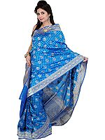Federal-Blue Jamdani Sari with All-Over Woven Flowers and Brocaded Aanchal