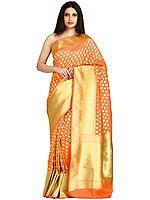Traditional Banarasi Sari with Woven Bootis and Zari Weave on Pallu