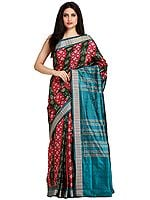 Sangria-Red and Green Sambhalpuri Handloom Sari from Orissa with Ikat Weave