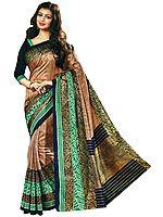 Mocha-Brown Silk Sari from Surat with Brocaded Blue-Green Border