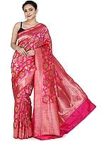 Pink-Peacock Handloom Banarasi Sari with Brocaded Hand-woven Kadhwa Floral Motifs All-over and Heavy Pallu
