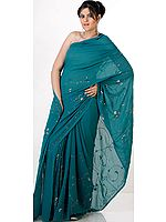 Sea-Green Georgette Sari with Multi-Color Sequins
