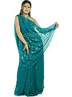 Sea-Green Sari with Sequins and Threadwork