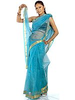 Sky-Blue Chanderi Sari with All-Over Bootis in Golden Thread