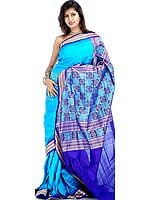 Turquoise-Blue Bomkai Sari with Temple Border Hand-Woven in Orissa
