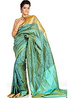 Waterfall-Green Banarasi Sari with Hand-woven Paisleys