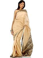 Wheat Baluchari Sari Depicting Draupadi's Cheer-Haran