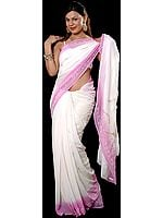 White and Pink Georgette Sari with Beads and Threadwork
