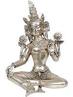 Tibetan Buddhist Savior Goddess Green Tara in Silver Hue