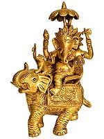 Ganesha on an Elephant with His Mouse as Mahout