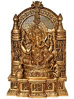Lord Ganesha Flanked By Devi Figurines