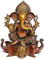 Lord Ganesha Seated on Three Elephant Head