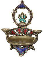 Large Ganesha Diya with Two Small Diyas