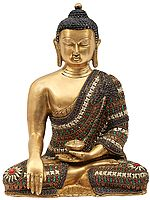 Bhumisparsha Buddha With Colorful Inlay Stone Work