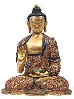 Gautam Buddha Preaching His Dharma With Inlay Work