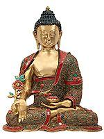 Tibetan Buddhist Healing Buddha With Inlay Stone Work