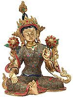 Tibetan Buddhist Deity Green Tara With Colorful Inlay Work