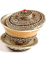 Ashtamangala Agate Ritual Bowl with Lid and Plate Set