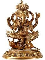Blessing Ganesha Seated on His Mount Rat