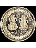 High Purity Lakshmi Ganesha Silver Ritual Coin