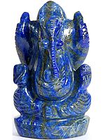 Lord Ganesha Carved in Lapis Lazuli