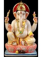 Lord Ganesha Seated in Royal Ease Posture with Trident Mark on Forehead