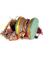 Pellet Drum (Damaru) with Dragon, Jataka Animals, Silk Tassel and Scarf