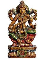Large Size  Goddess Saraswati Playing on Vina