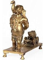 Ganesha Drawing the Cart with His Mouse on it