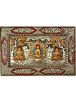 Shakyamuni Buddha with Amitayus Buddha and Chenrezig - Wall Hanging Plate with Dragons and Endless Knot Frame