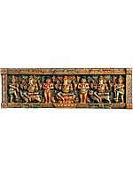 Three Ganeshas Seated on Different Seats - on Rat, Lotus, and Lion with Shiva Ganas (Panel)