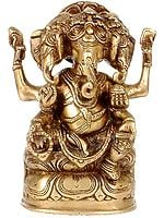 Three Headed Seated Ganesha