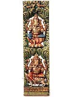 Twin Ganesha Vertical Panel