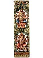 Twin Ganesha Vertical Panel