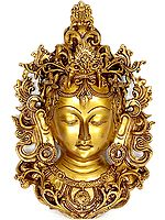 Devi Tara Wall-Hanging Mask Framed By Vines
