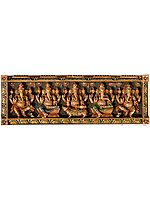 Wooden Panel Depicting Ganesha in Dancing , Sitting on Lotuses, on Rat and Standing Postures
