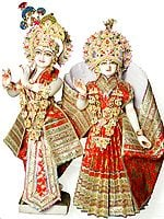 Radha and Krishna (Bedecked in Garments for Worship at Home or Temple)