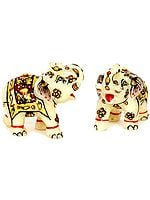 Small Elephant Pair with Upraised Trunks (Supremely Auspicious According to Vastu)