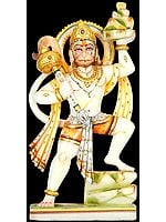 Marble Image of Hanuman Carrying Mount Dron