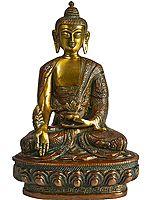 Tibetan Buddhist God Medicine Buddha (Robes Decorated with Auspicious Symbols and the Scenes from the Life of Shakyamuni)