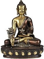 The Medicine Buddha in Brown and Golden Hues